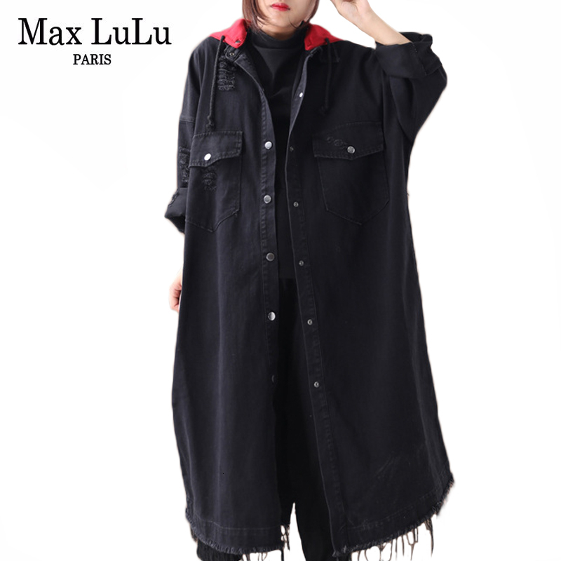 Max LuLu 2019 Autumn Clothes Fashion Korean Luxury Ladies Denim Trench Coats Womens Hooded Oversized Vintage Long Windbreakers