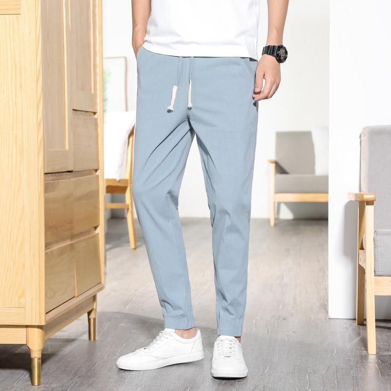 2019 Summer Men's Linen Pants Hip Hop Ankle-Length Men Pencil Pants Solid Color Breathable Comfort Fashion Linen Pants Men 5XL