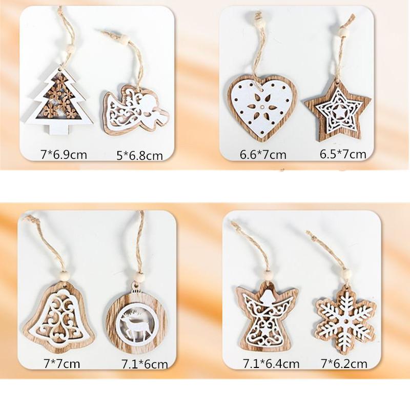 2pcs New Year 2020 Gift Natural Wooden Christmas Tree Pendants Christmas Ornaments Decorations for Home Adornos De Navidad 2019 26