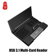 USB3.1 الذاكرة علبة كرتون قارئ بطاقات وتغ متعددة الوظائف قارئ بطاقات SD TF المزدوج فتحة للبطاقات USB/نوع C/سلك MicroUSB واجهة