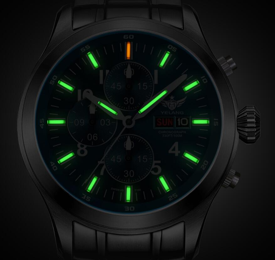 Yelang Men pilot watch Tritium T100 Japan Movement Waterproof <font><b>100m</b></font> Sapphire Date Day Quartz Timer Military Watch image