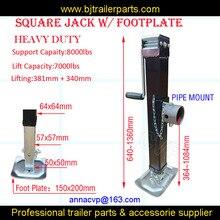 Vierkante Pijp Mount Jack Met Voetplaat Heavy Duty Utility Boot Trailer Drop Been Weld Op Jack Stand 7000lbs Side Wind