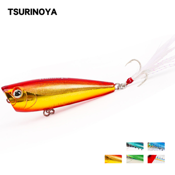 Señuelo de pesca duro TSURINOYA POPPER DW20 superficie sonido tentación Swimbait 60mm 7g gran boca flotante Wobblers cebo duro
