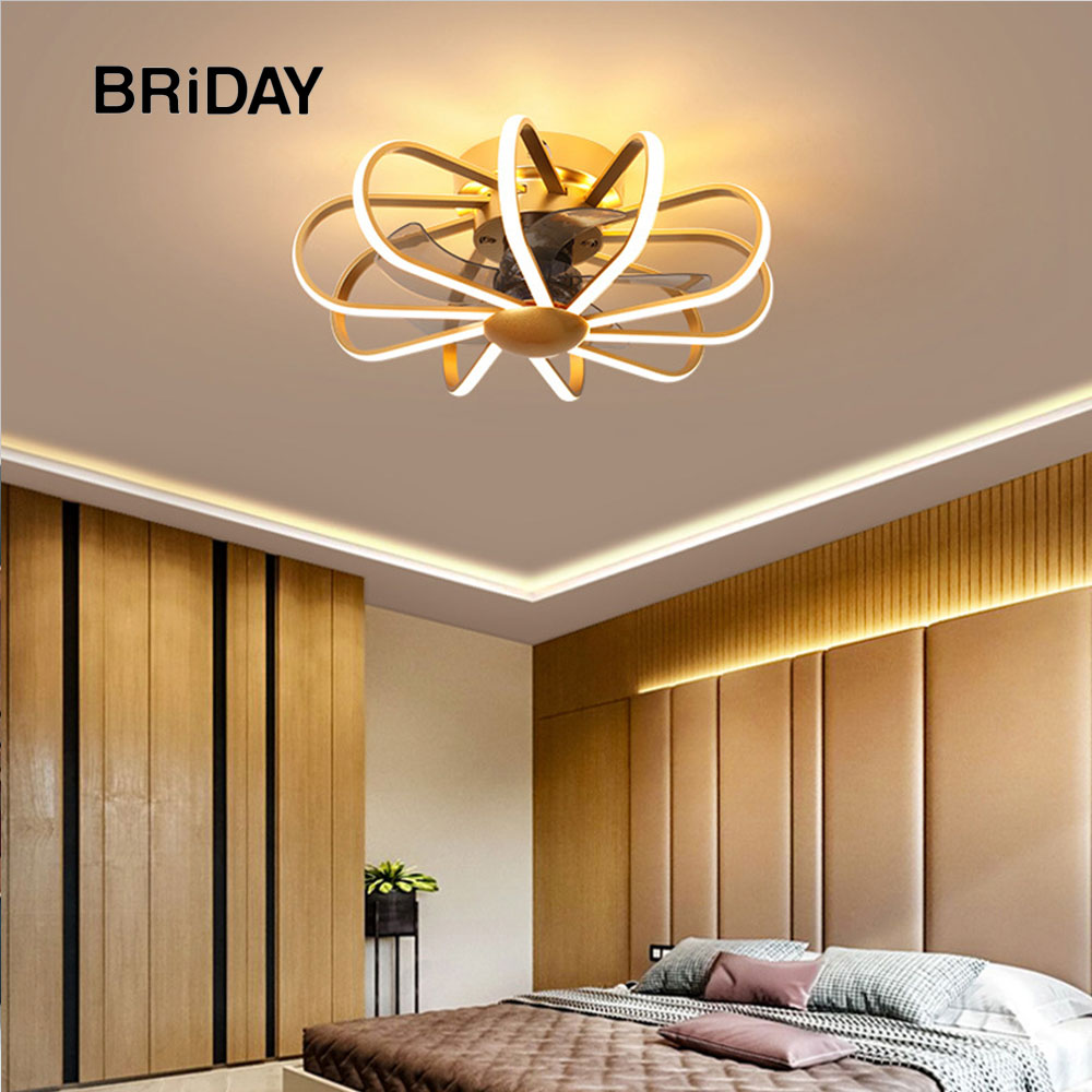 55CM Nordic LED Ceiling Fan Lamp With Lights Remote Control Bedroom Decor Modern Ceeling Fans With Light Ventilator Lamp Silent