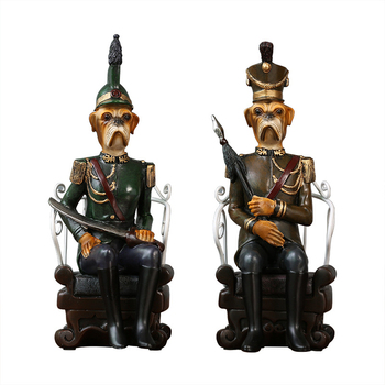 American Modern Abstract Design Sitting Officer Dog Character Desktop Decoration Figurines Household Party Decoration Ornaments