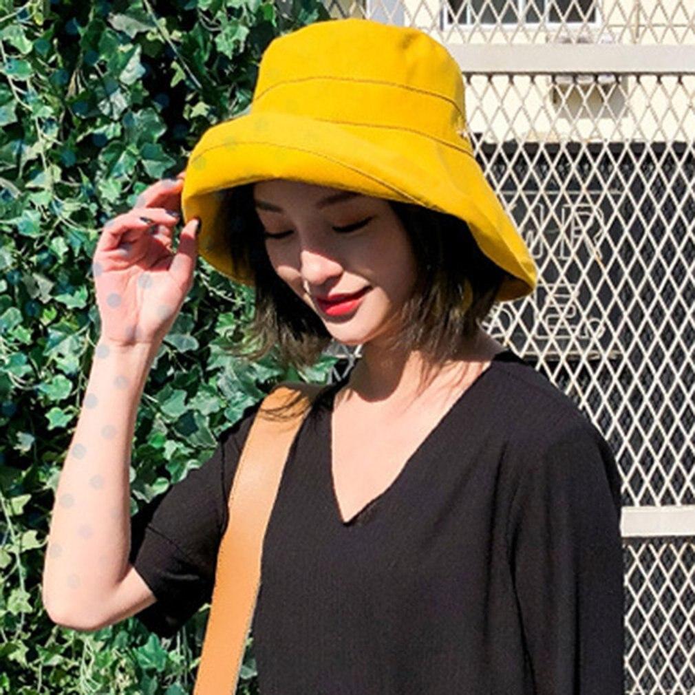 Summer sunscreen Bucket Hat Caps women Solid Color Fisherman Panama Simple Plain Hats Hip Hop cool Beach Sun Fishing Bucket Hats