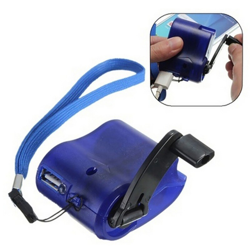 USB Phone Emergency Charger For Camping Hiking EDC Outdoor Sports Hand Crank Travel Charger Camping Equipment Survival Tools