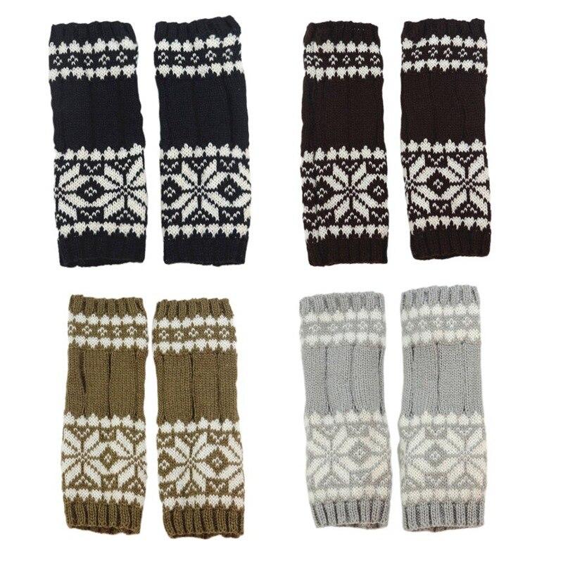 1 Pair Autumn Winter Women Knit Gloves Arm Wrist Sleeve Hand Warmer Girls Snowflake Long Half Winter Mittens Fingerless Gloves