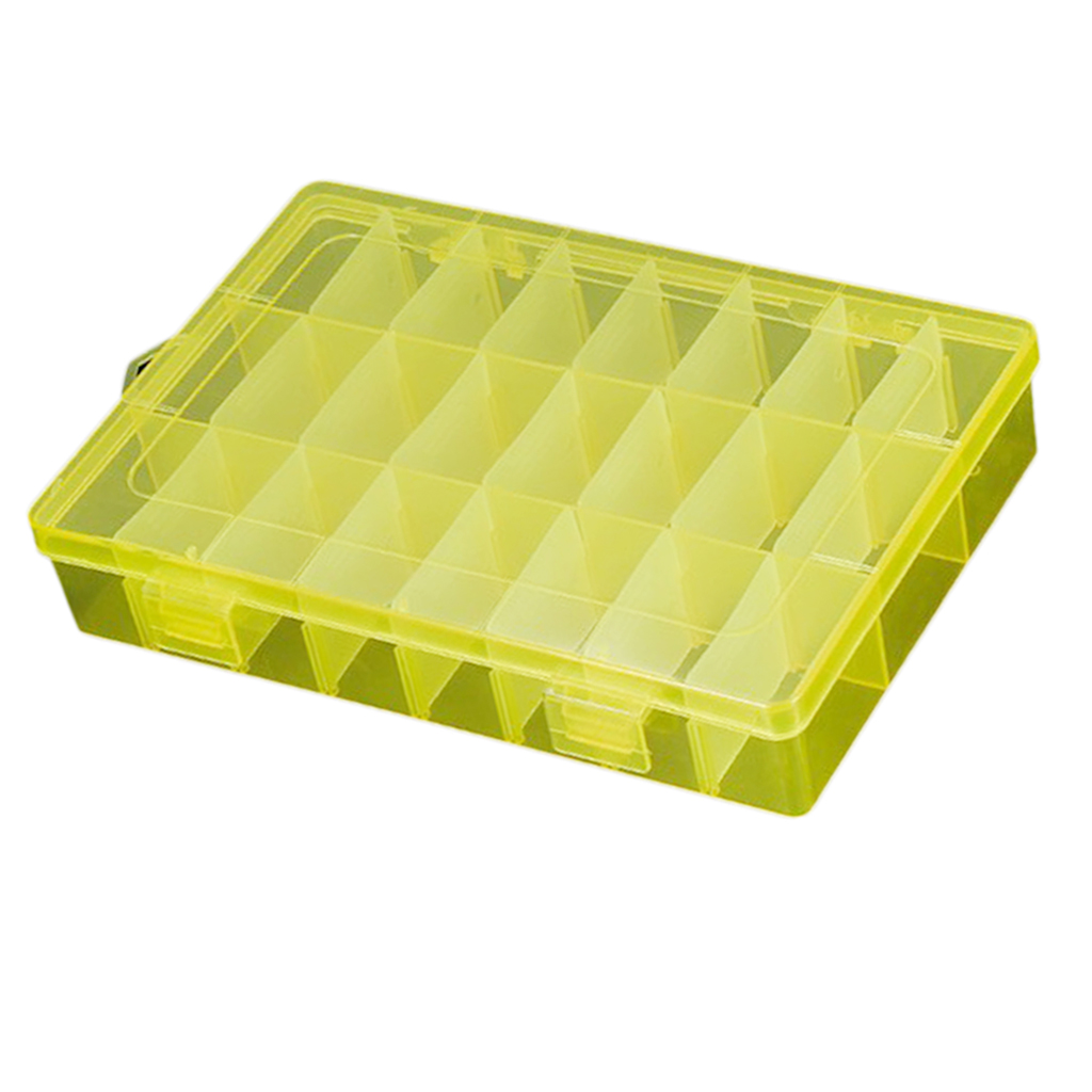 Clear Jewelry Box - Plastic Bead Storage Container, Earrings Storage Organizer With Adjustable Dividers, 24 Compartments