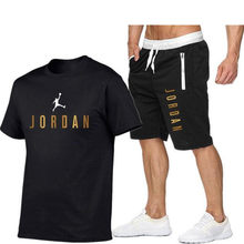 Summer casual men's workout clothes, men's suits, fitness clothes, sports suits, short-sleeved T-shirts + shorts, quick-drying 2