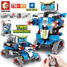 Cidade técnica rc robô transformação carro de corrida blocos de construção criador controle remoto robô arma tijolos brinquedos para crianças