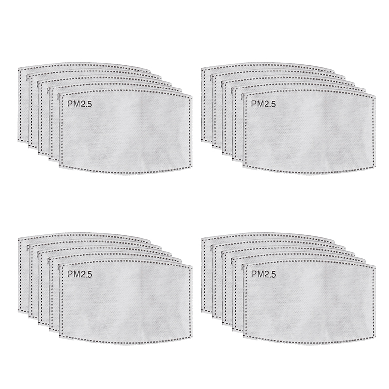 20Pcs/Lot 4Layers PM2.5 N95 Activated Carbon Filter Insert Protective Filter Media Insert For Mouth Mask Anti Dust Mask