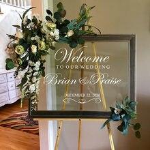 Calcomanías de bienvenida de boda personalizadas, pegatinas de pared de vino de cristal, adhesivos de aniversario de boda para taza de zapatos de coche