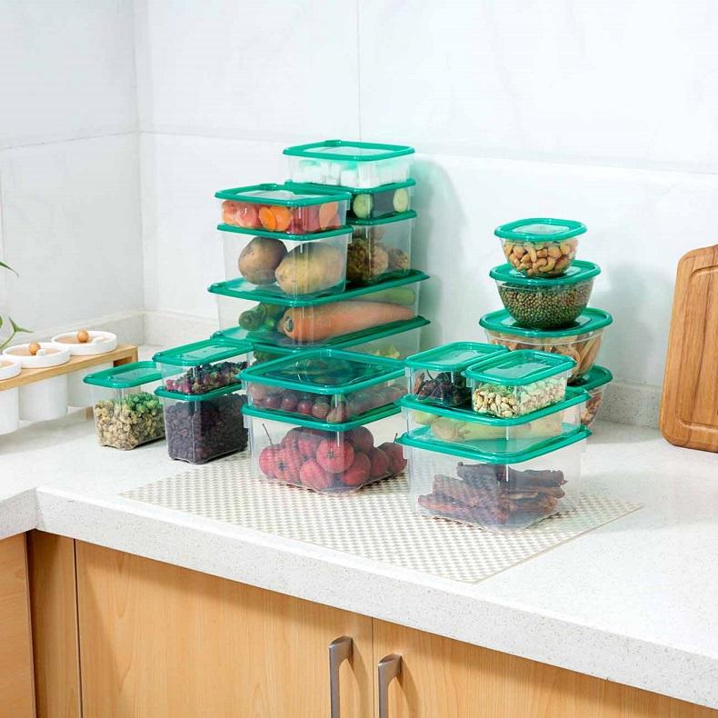 17pcs/set plastic storage boxes with lid kitchen fresh keeping