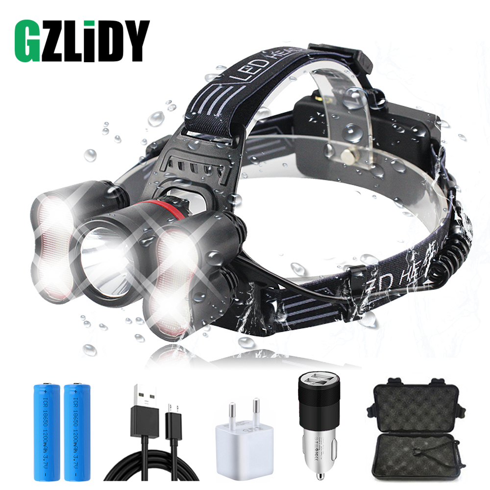 5 LEDS Super Bright LED Headlamp Rechargeable Led Headlight 4 Switch Modes Fishing Lamp Waterproof Headlight +2x 18650 Batteries