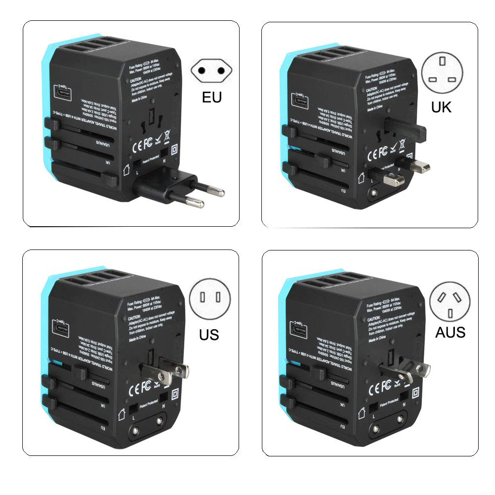 Image 4 - 5USB travel adapter Universal Power Adapter Charger worldwide adaptor wall Electric Plugs Sockets Converter for mobile phonesInternational Plug Adaptor   -