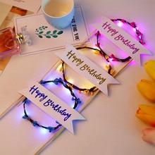 Светодиодный светящийся цветок Венок торт Топпер С Днем Рождения Торт Декор для дня рождения золотые листья торт топперы