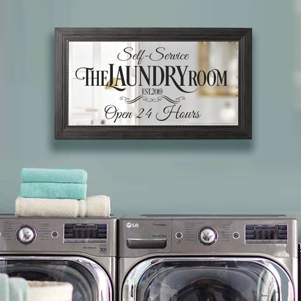 Laundry Room Decal Vinyl Wall Sticker 24 Hour Sign Decals Mirror Wallpaper For Walls In Rolls Modern Store Decoration C186(China)