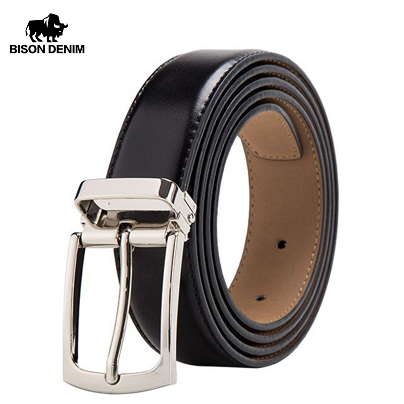 BISON DENIM Genuine Leather Belt For Men Fashion Slim Classic Pin Buckle Male Belt 2.8cm Business Luxury Strap Quality W71123