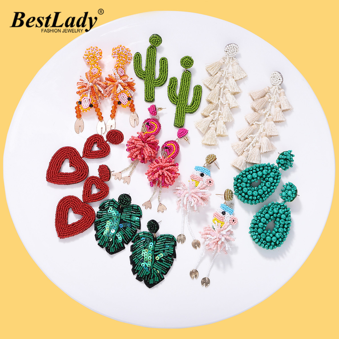 Best lady Boho Bird Beaded Earrings for Women Unique Star Leaf Rainbow Drop Earring Handmade Wedding Party Friends Sisters Gifts