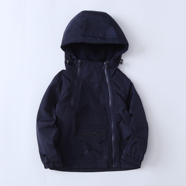 Windproof Fashion Hooded Cotton Child Coat Baby Boys Jackets Children Outerwear Zipper Large Pocket For Height of 90-135cm