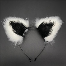 Free Shipping COS Anime Double Color Plush Cat Hairpin Maid Catwoman Lolita Soft Cute Headband женское платье lolita cos