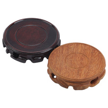 Retro Wooden Display Stand Tea Set Household Strange Stone Crafts Solid Carved Round Base Literary Fashion Ornaments