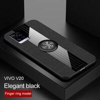 Für VIVO V20 Pro Handy Fall Magnetische Ring Halter Weichen Rahmen Tuch Abdeckung für VIVO V 20 SE Stoßstange handy Abdeckung