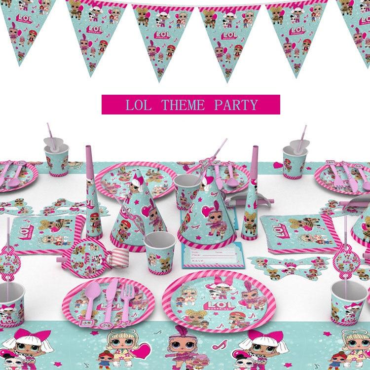 Lol surpresa boneca festa de aniversário suprimentos lol festa de mesa tema cena de aniversário decoração adereços placas de papel