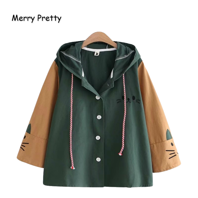 MERRY PRETTY Cotton Women's Cartoon Cat Embroidery   Basic     Jackets   And Coats 2019 Winter Warm Long Sleeve Patchwork Hooded Coats
