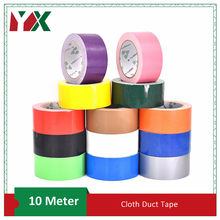 10mm 15mm 20mm Waterproof Sticky Adhesive Cloth Duct Tape 2Rolls Craft Repair Red Black Blue Brown Green Silvery 13 Colors 10M