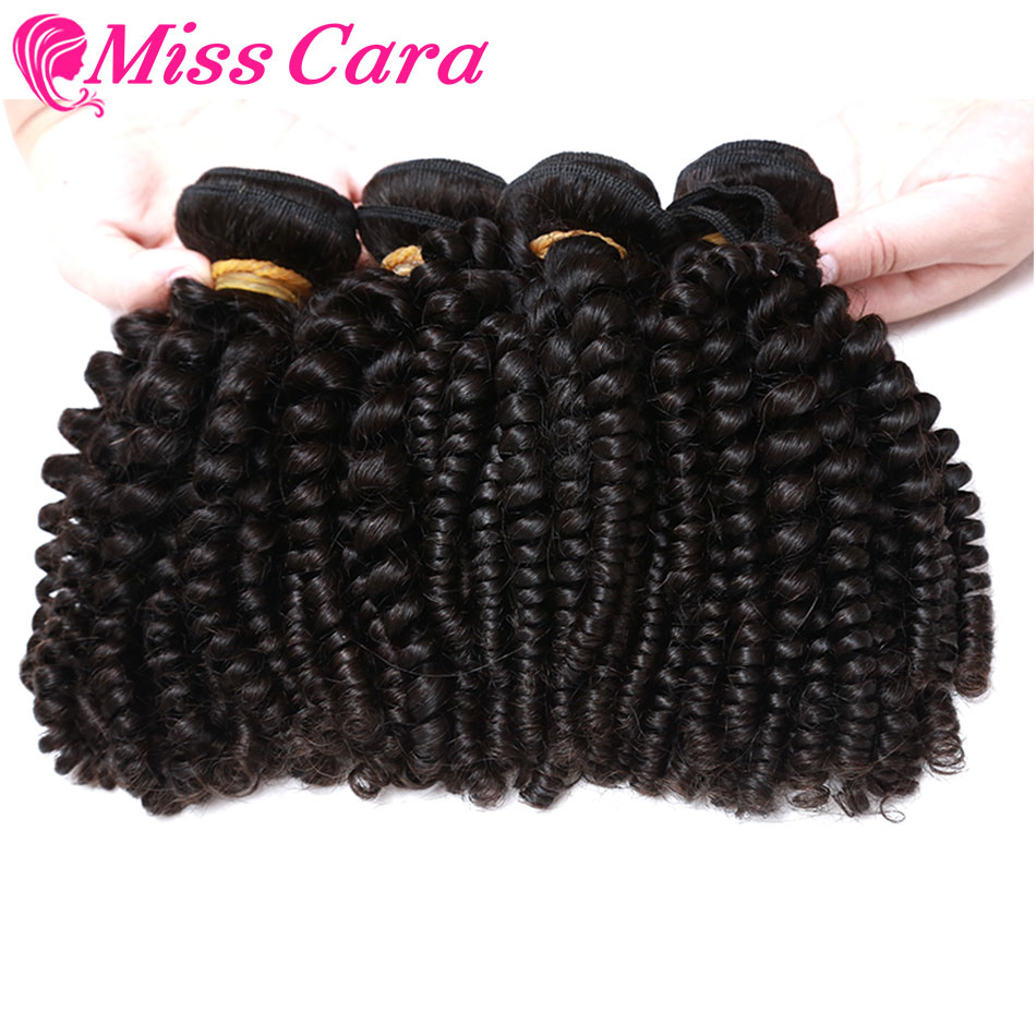 4 Bundles Funmi Hair Brazilian Bouncy Curly Hair Weaves 100% Human Hair Bundles Can Be Dyed And Straighten Miss Cara Non Remy