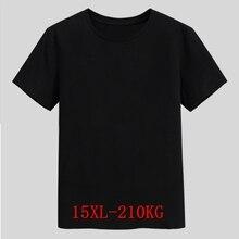 Erkek büyük T Shirt büyük boy 15XL 14XL 13XL 8XL 9XL 10XL 11XL 12XL kısa kollu yuvarlak boyun gevşek rahat siyah gri beyaz