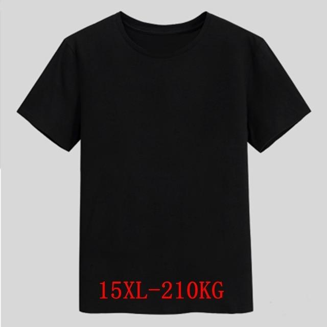 Mens Big T Shirt Large Size 15XL 14XL 13XL 8XL 9XL 10XL 11XL 12XL Short Sleeve Round Neck Loose Casual Black Gray White