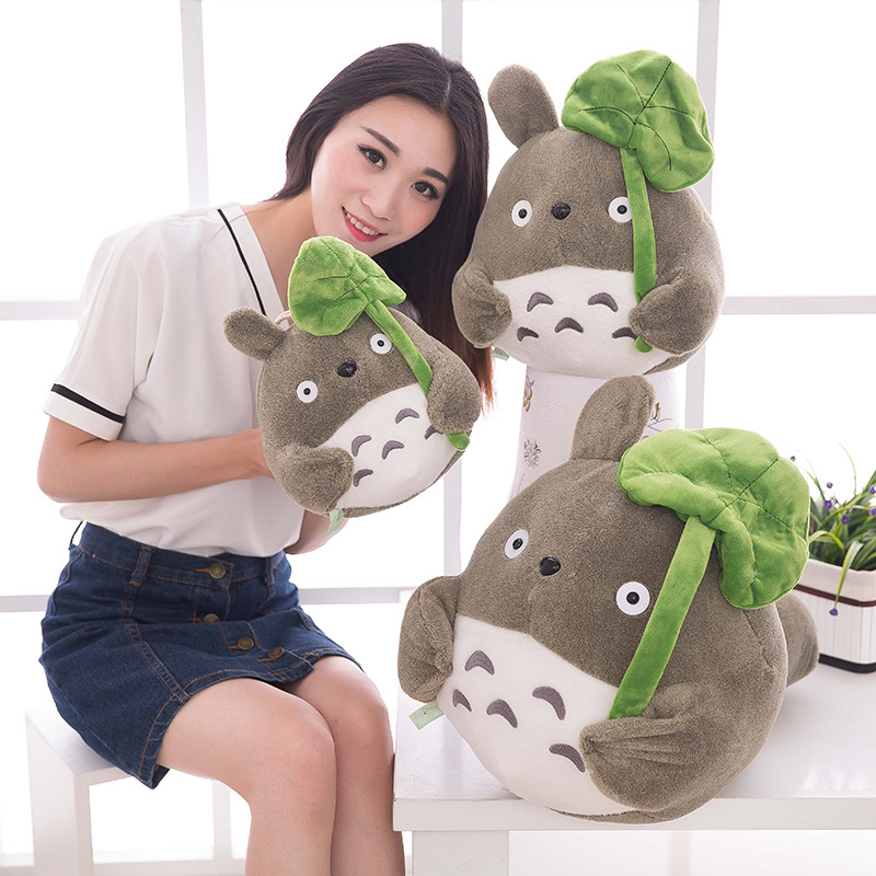 1pc 25-40cm Cartoon Cute Lotus Leaf TOTORO Style Soft Filled Plush Toy Doll Cute Movie Character Child Birthday Gift Toy WJ154