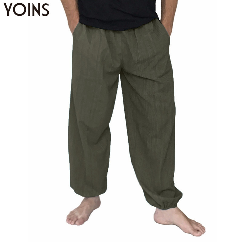 YOINS Plus Size 5XL Cotton Men Loose Wide Leg Pants Long Trousers Men Joggers Harem Pants Elastic Waist Baggy Sweatpants 2019