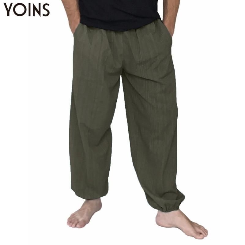 YOINS Plus Size 5XL Cotton Men Loose Wide Leg Pants Long Trousers Men Joggers Harem Pants Elastic Waist Baggy Sweatpants 2020