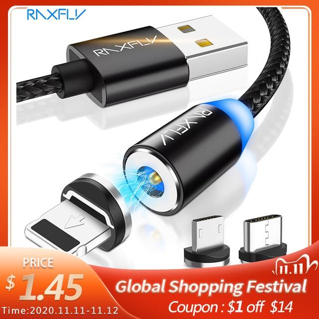 Raxfly磁気ケーブルマイクロusbタイプcケーブルiphone 11プロマックスxiaomi redmi高速充電ワイヤー1メートルledマグネット充電器ケーブル