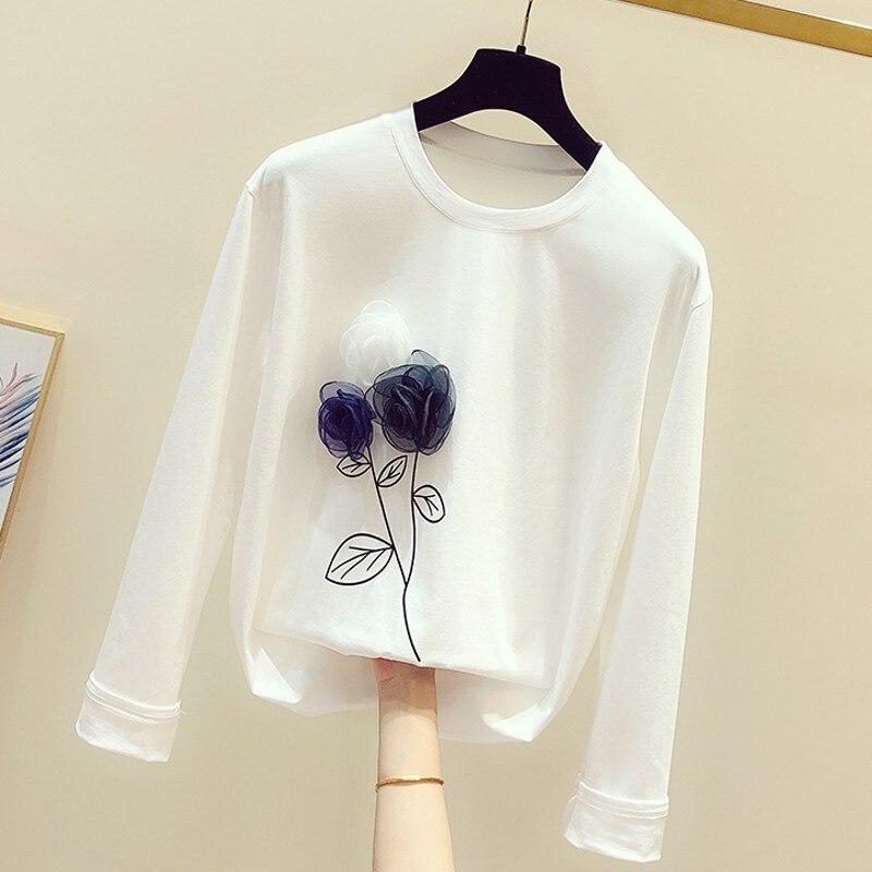 Long Sleeve Tshirt Women Flower T Shirt Female White T-shirt Girls Ladies Tees T Shirts Leisure Tops Nancylim