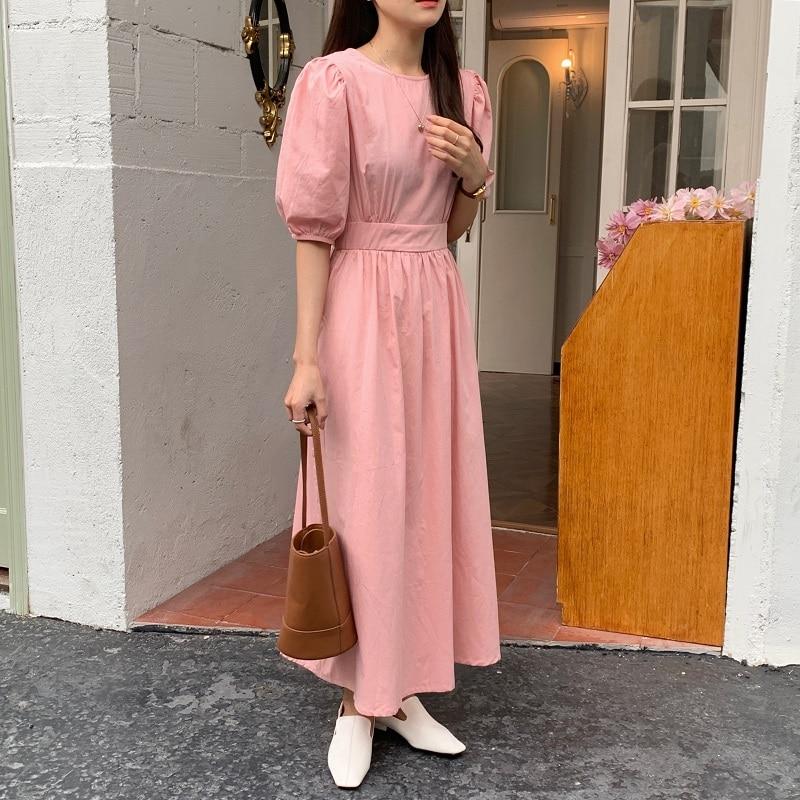 Hf0e6d5d0151b47ceb3d51a0ccf238f40a - Summer O-Neck Short Sleeves Elastic-Waist Calf Length Solid Dress