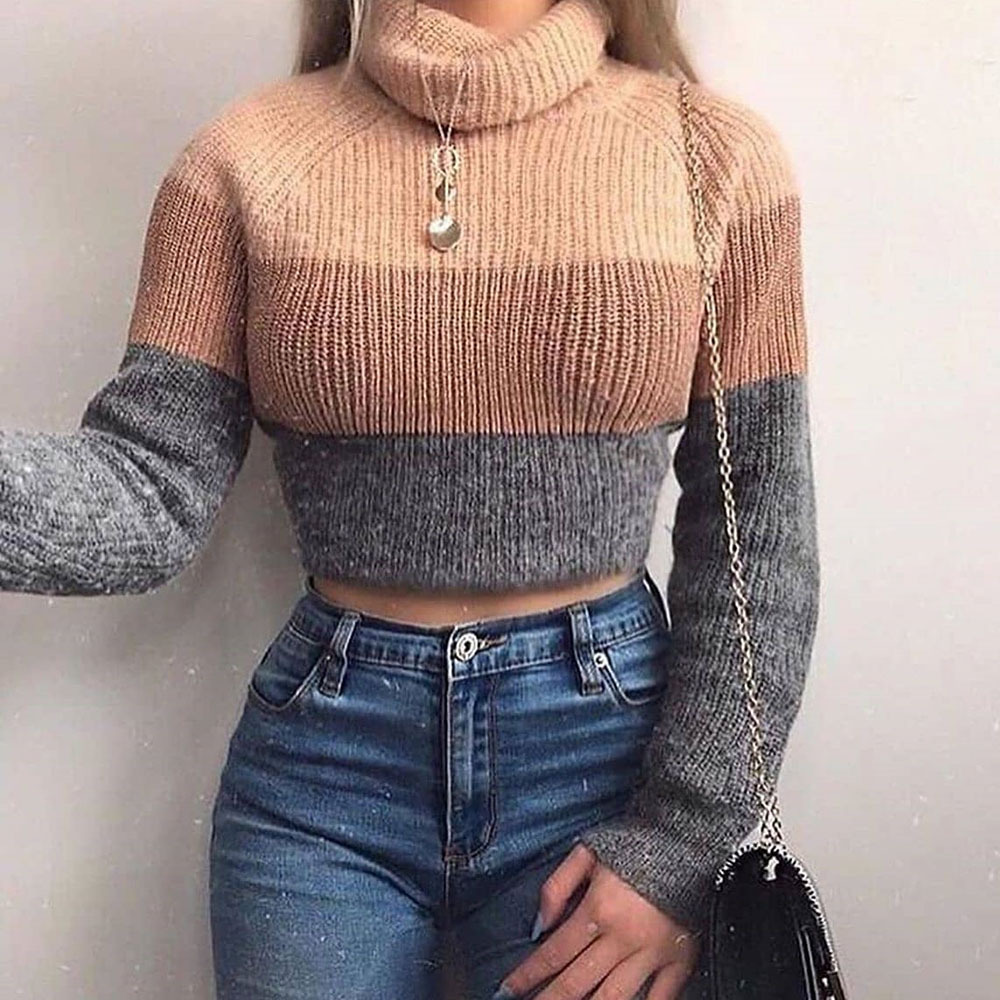Artsu blusas de gola alta feminina listrado
