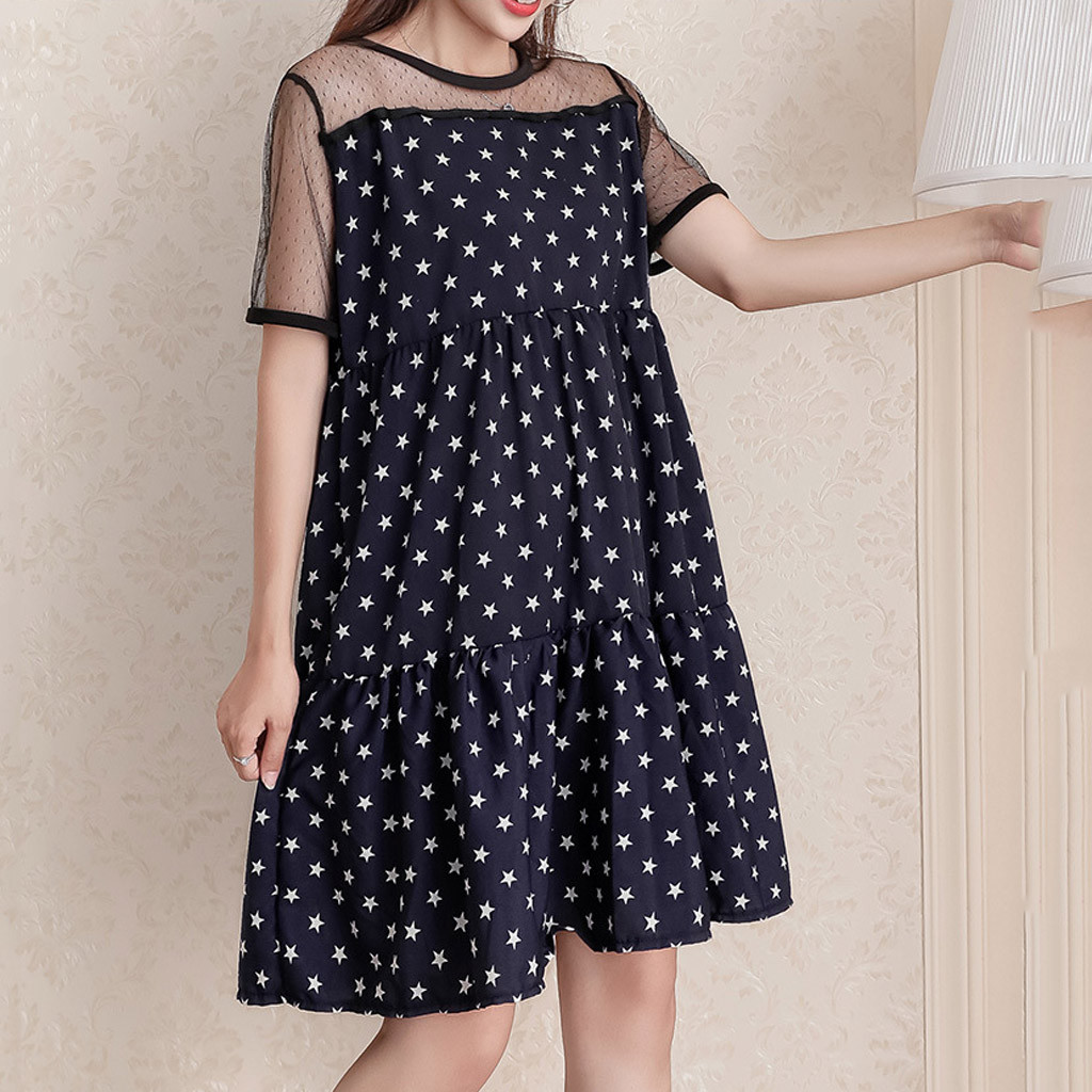 Women Dress Lady 2020 fashion new Eillysevens O-Neck Short Sleeve Pockets Star Print Mesh Patchwork Loose Mini Dress#g40