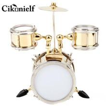 Instrumento musical em miniatura réplica tambor conjunto ornamento baterista presente decoração para casa acessórios para sala de estar