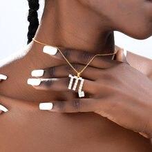 Ожерелье с цирконом и знаком зодиака для женщин мужчин Золотая