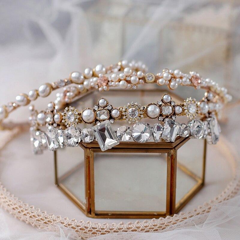 New Baroque gold headdress handmade hair band Korean bride pearl headband rhinestone wedding ethnic style jewelry evening dress