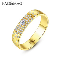PAG & MAG S925 Sterling Silver Ring women's new multi row Diamond Sterling Silver zircon ring fashion jewelry
