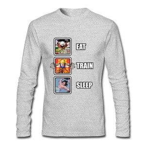 Image 2 - Лидер продаж, программист, Dragon Ball Eat Train Sleep Goku Repeat, 3d футболка с длинным рукавом и круглым вырезом, забавные зимние футболки для взрослых, футболка