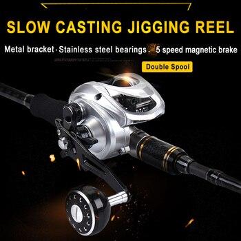 цена на Lurekiller Slow fishing baitcasting Jigging Reel low profile casting Reel Double Spool Sea Monster 400HG Boat Reel 12kg