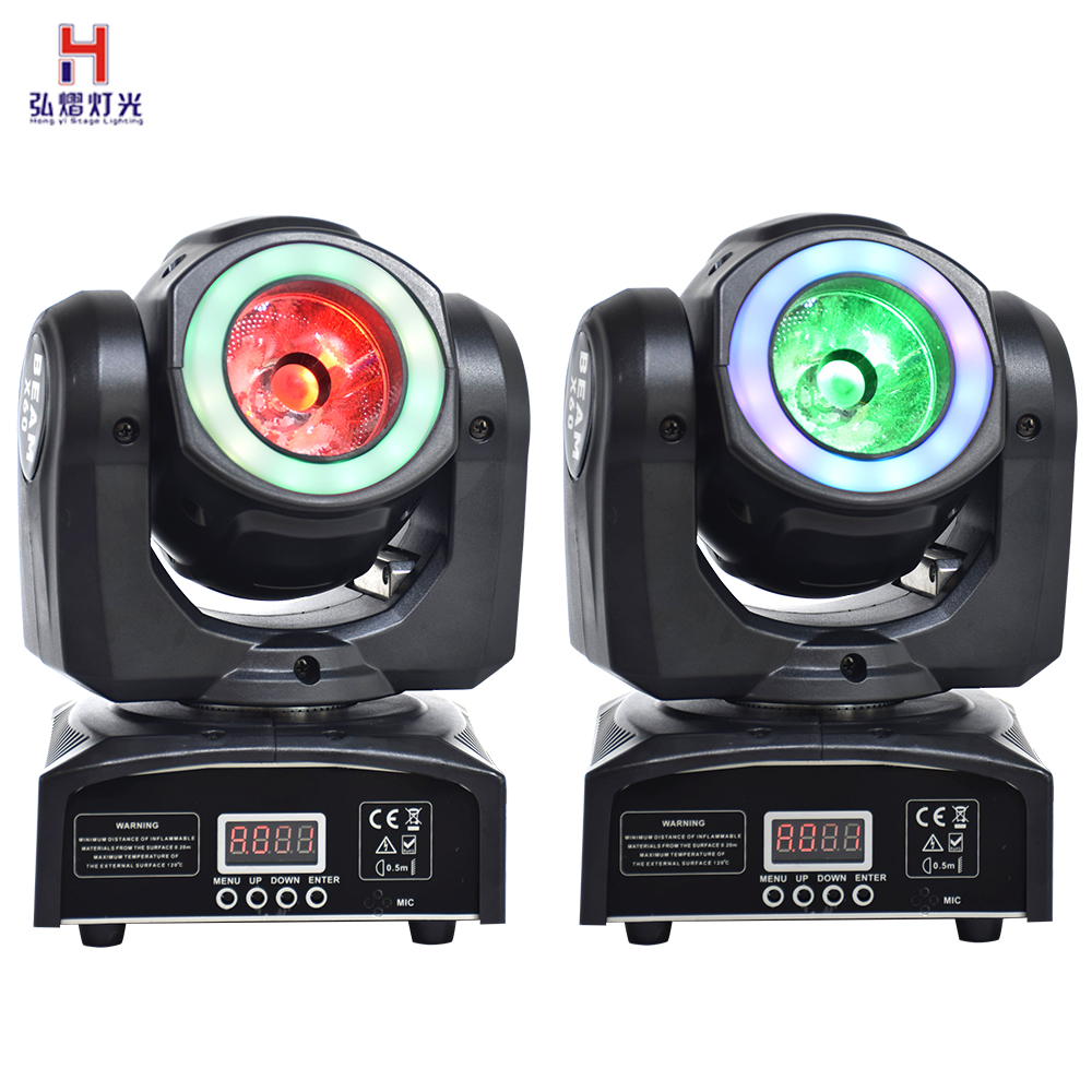 Moving Head Beam 60W RGBW 4IN1 Color Mixing Beam Light With LED Pixel Ring Stage Lighting Effect (2pcs/lot)