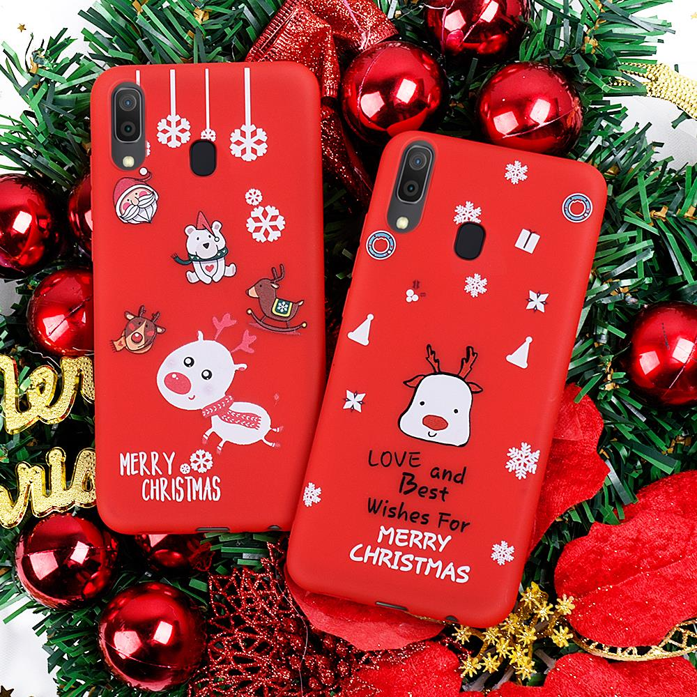 Soft Christmas Pattern Case For Samsung Galaxy A20 A30 A50 A70 A7 A750 <font><b>A2018</b></font> A10 Soft Silicone TPU Cover Protective Gift Case image